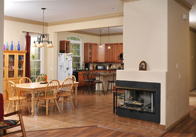 Kitchen and dining room with fireplace