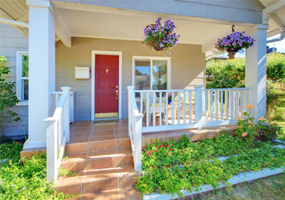 Front porch with red front door
