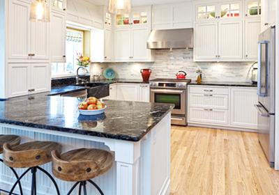 white-kitchen-black-counters-red-teapot