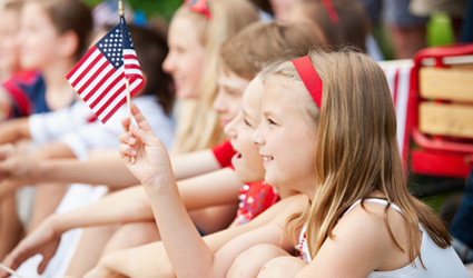 Kids at a patriotic parade