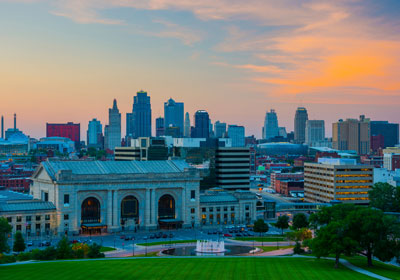 Downtown Kansas City, MO at dusk